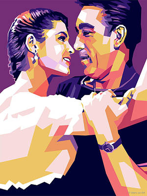 Gambling Royalty Free Images - Anthony Quinn and Suzan Ball Royalty-Free Image by Stars on Art