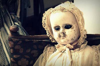 Featured Tapestry Designs - Antique Doll wearing Bonnet by Joseph Skompski