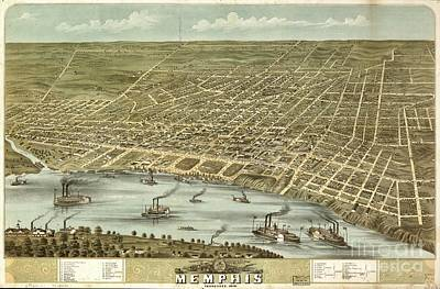 Kitchen Food And Drink Signs - Antique map Birds eye view of the city of Memphis, Tennessee 1870 by JL Images