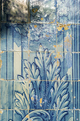 Vintage Signs - Antique Portuguese Azulejo - Centuries Old Traditional Tiled Picture by Georgia Mizuleva