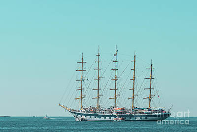 Royalty-Free and Rights-Managed Images - Antique Ship At Sea, Set Sails In Cannes, Ocean Print, Seascape View, All Sails Up by Radu Bercan