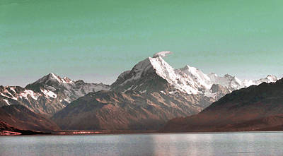 Surrealism Royalty-Free and Rights-Managed Images - Aoraki   Mount Cook , the highest mountain in New Zealand. - Surreal Art by Ahmet Asar by Celestial Images