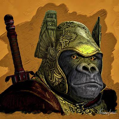 Animals Digital Art - Ape with the Golden Helmet by Ken Morris