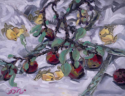 Painting - Apple Boughs on Crewl Embroideried Tablecloth by Catherine Considine