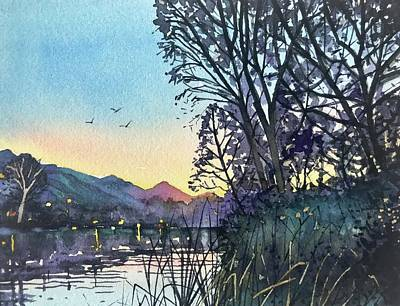 Black And White Ink Illustrations - April Dusk Malibou Lake by Luisa Millicent