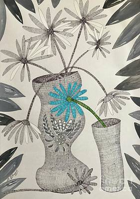 Still Life Drawings - Aqua Daisy by Caroline Street