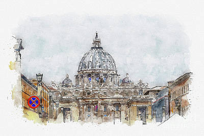 Mixed Media - Aquarelle sketch art. Basilica di San Pietro, Vatican, Rome, Italy by Beautiful Things