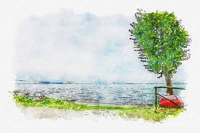 State Love Nancy Ingersoll - Aquarelle sketch art. Beautiful blue lake and lonely tree Tuscany, Italy by Beautiful Things