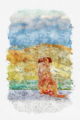 Amy Weiss - Aquarelle sketch art. Lonely dog watching on Gibraltar strait by Beautiful Things