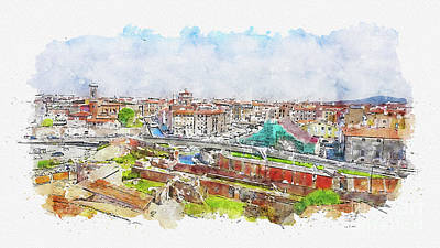 Mixed Media - Aquarelle sketch art. Old town of Livorno, Tuscany, Italy by Beautiful Things