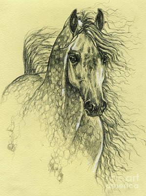 Animals Drawings - Arabian horse 2003 by Angel Ciesniarska
