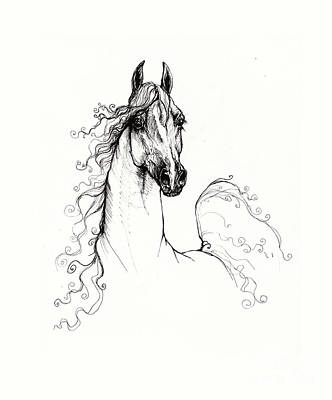 Animals Drawings - Arabian horse drawing 2009  xx by Angel Ciesniarska