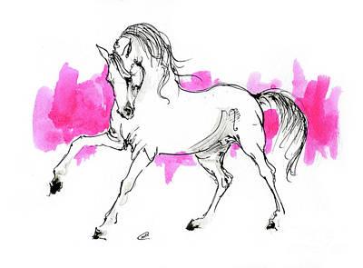 Animals Drawings - Arabian horse ink drawing 2019 12 03 by Angel Ciesniarska