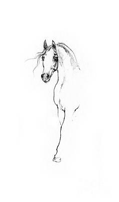 Animals Drawings - Arabian horse sketch 2014 05 24 a by Angel Ciesniarska