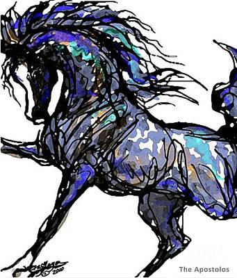 Animals Digital Art - Arabian in Blue by Stacey Mayer