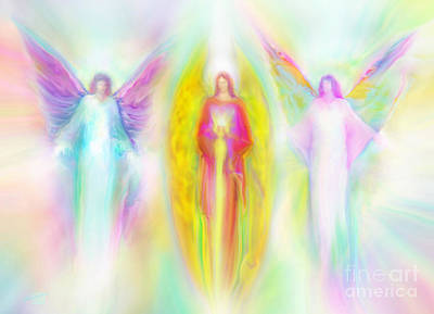 Painting - Archangels Raphael, Michael and Raphael Guardian Angel Energy Painting by Glenyss Bourne