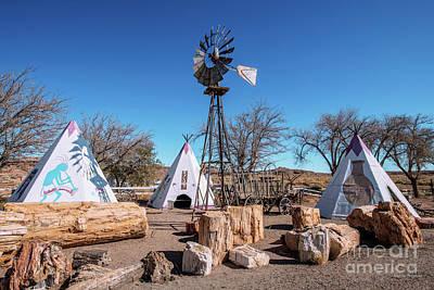 Photograph - Arizona Geronimo Teepees and Windmill Campground Wide by Aloha Art