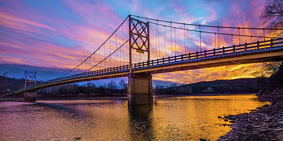 Royalty-Free and Rights-Managed Images - Arkansas Little Golden Gate Bridge at Sunset Panorama by Gregory Ballos