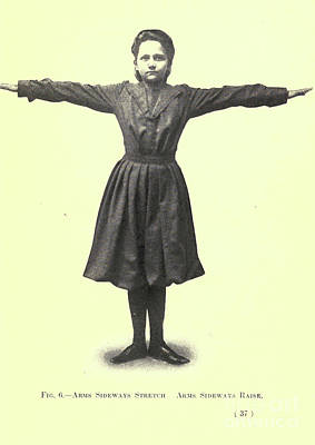 Drawings Royalty Free Images - Arms sideways stretch. Arms sideways raise i Royalty-Free Image by Historic illustrations