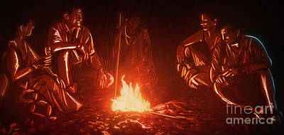 Digital Art - Art - Around the Campfire by Matthias Zegveld