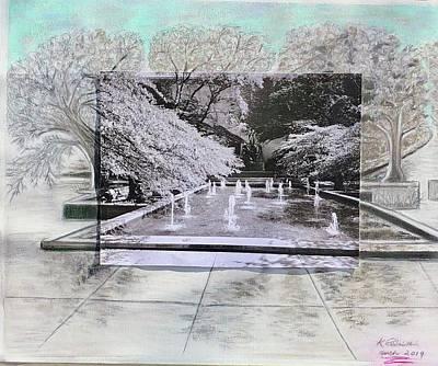 Mixed Media - Art-Inst-Fountain  by Karin Palminteri