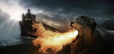 Digital Art - Art - Lion of Fire by Matthias Zegveld