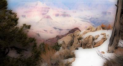Mixed Media - Artistic Grand Canyon with Snow by Bob Pardue