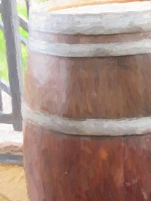 Thomas Kinkade Rights Managed Images - Artsy Wine Barrel Royalty-Free Image by Cathy Lindsey