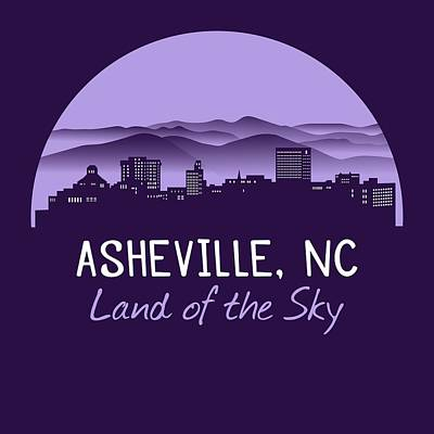 Whats Your Sign - Asheville, NC Cityscape T-Shirt - Purple by Serena King