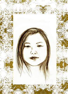Drawings Royalty Free Images - Asian American Woman Royalty-Free Image by AD Herzel