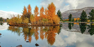 Game Of Chess - Aspen Colorado Autumn Lake and Mountain Reflections Panorama by Gregory Ballos