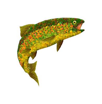 Typography Tees - Aspen Leaf Rainbow Trout 3 by Agustin Goba