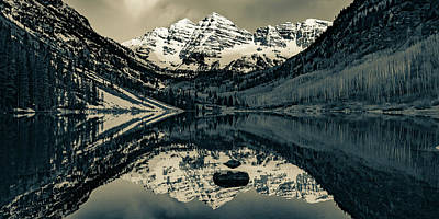 Landscapes Royalty-Free and Rights-Managed Images - Aspen Peaks of Colorado - Maroon Bells Mountain Landscape Panorama in Sepia  by Gregory Ballos