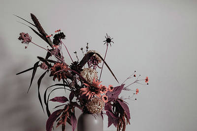 Surrealism Royalty-Free and Rights-Managed Images - assorted flowers in vase beside wall - Surreal Art by Ahmet Asar by Celestial Images