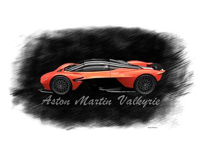 Abstract Airplane Art - Aston Martin Valkyrie  by Scott Wallace Digital Designs