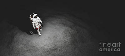Popstar And Musician Paintings - Astronaut doing space walk on Moon. by Michal Bednarek