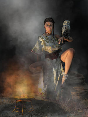 Celebrity Watercolors - Athena by Firelight by Daniel Eskridge