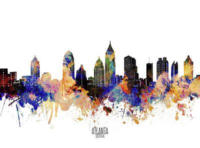 Studio Grafika Vintage Posters - Atlanta Skyline Waterolor Grunge by Bekim M
