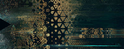 Digital Art - Atlantis Obsidian Teal Gold 2  by Alex Ruiz