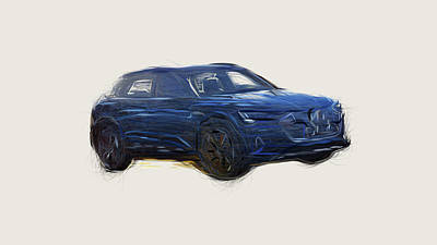 Up Up And Away - Audi E Tron Car Drawing by CarsToon Concept