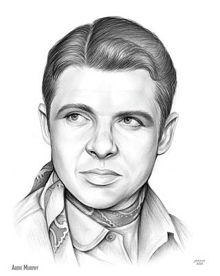 David Bowie Royalty Free Images - Audie Murphy - pencil Royalty-Free Image by Greg Joens