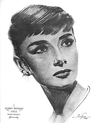 Drawings Royalty Free Images - Audrey Hepburn 1953 Royalty-Free Image by Stars on Art