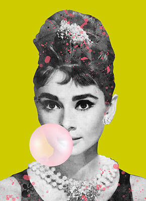 Farm Life Paintings Rob Moline - Audrey hepburn with bubble gum no background by Mihaela Pater