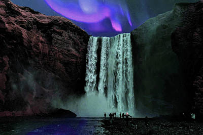 Surrealism Royalty Free Images - Aura Borealis and Skogafoss Waterfall Iceland - Surreal Art by Ahmet Asar Royalty-Free Image by Celestial Images