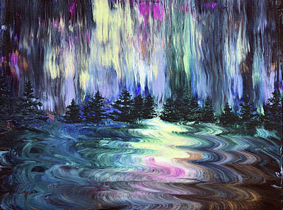 Painting - Aurora Borealis in the Rain by Laura Iverson