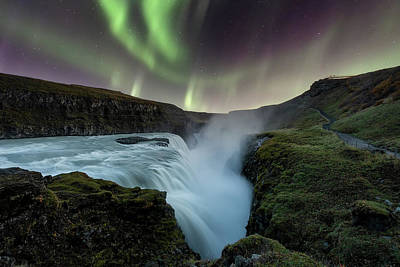 Abstract Male Faces - Aurora Borealis over Gullfoss Waterfall in Iceland by Alexios Ntounas