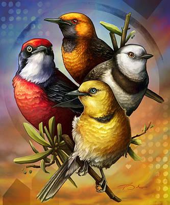 Digital Art - Australian Birds Epthianura Chats by Cass Womack