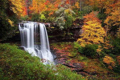 Mountain Landscape Royalty Free Images - Autumn at Dry Falls - Highlands NC Waterfalls Royalty-Free Image by Dave Allen