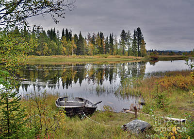 David Bowie Royalty Free Images - Autumn Boat Royalty-Free Image by Torfinn Johannessen