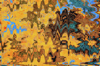 Royalty-Free and Rights-Managed Images - Autumn Jazz - Contemporary Abstract - Abstract Expressionist painting - Yellow, Mustard, Blue, Brown by Studio Grafiikka